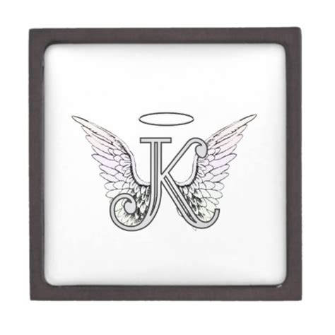 Gift Letter C 6633 Letter K Initial Monogram With Wings Halo Premium Trinket Boxes Zazzle
