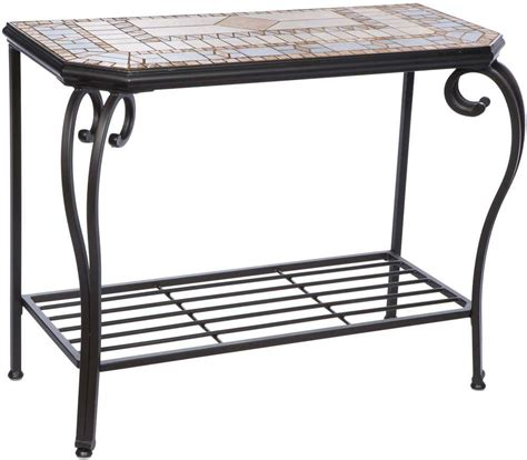 outdoor wrought iron console table alfresco home compass wrought iron mosaic 40 x 19 50