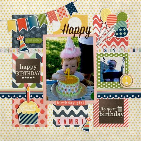 photo layout for birthday happy birthday kamri a scrapbook layouts pinterest