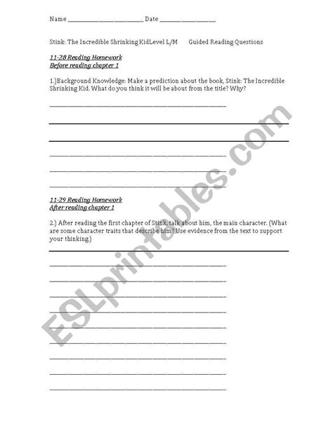 English worksheets: Stink: The Incredible Shrinking Kid