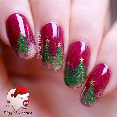 piggieluv christmas trees nail art