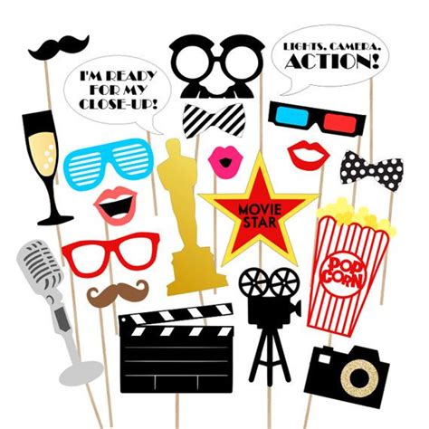 free printable hollywood photo booth props 37 movie night awards printable photo props movie awards