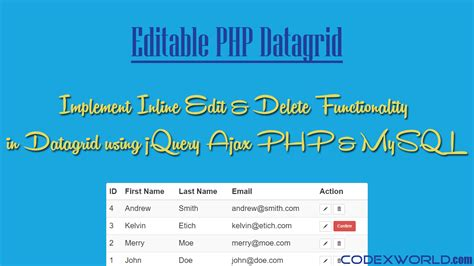 tutorial php jquery mysql inline table editing using jquery ajax php and mysql