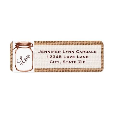 rustic printable address labels rustic mason jar burlap wedding address labels zazzle