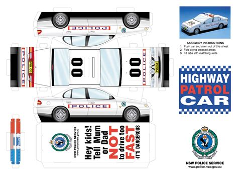 printable paper vehicles fold up police car moneybox fold up paper cars