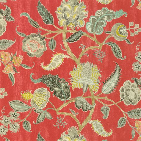 red floral upholstery fabric shop houzz kovi fabrics radish red floral cotton print