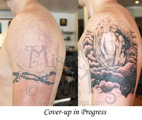 tattoo cover up band replace the angels with mountains and boo ya tattoo