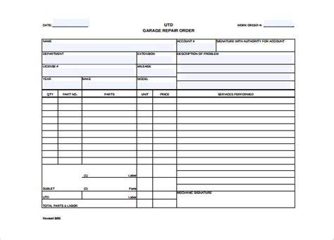 Auto Repair Forms Template Hardhost Info Auto Repair Template