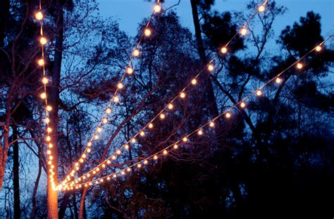 A Canopy Of String Lights In Our Backyard Gray House Studio How To String Lights On House
