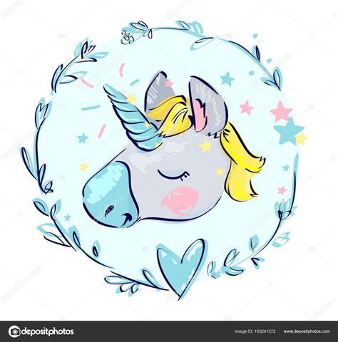imagenes de unicornios animados para dibujar dibujos animados unicornio en guirnalda floral vector de