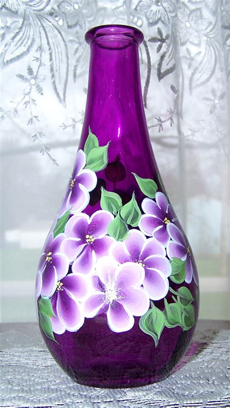 Painting On Vase by Magenta Vase Painted