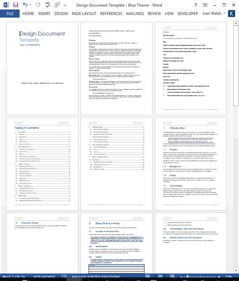 software documentation template design document ms word template