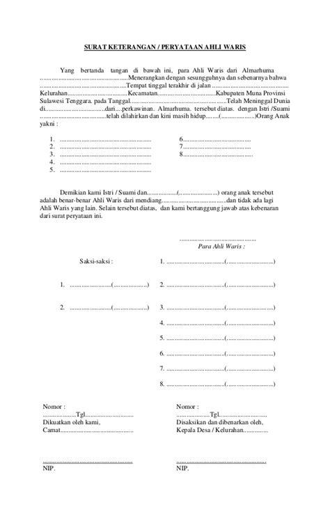 Contoh Surat Pernyataan Ahli Waris Untuk Bank - Surat 35