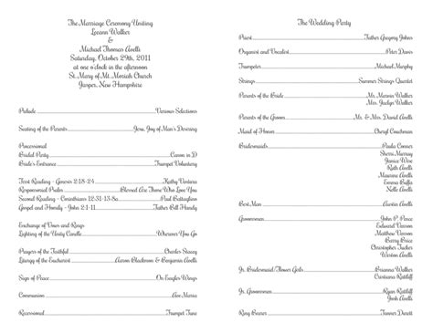 catholic mass wedding program template free wedding program templates no cover wedding