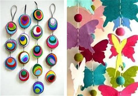home made decoration pieces 45 craft ideas for handmade garlands recycling felt pieces