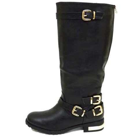 wide biker boots womens wide fit flat black knee high zip biker tall calf
