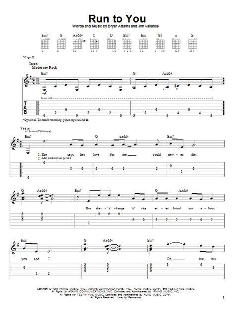 run to you run to you sheet music by bryan adams easy guitar tab