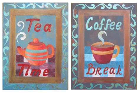 Tea Time And Coffee Time coffee and tea acrylic painting