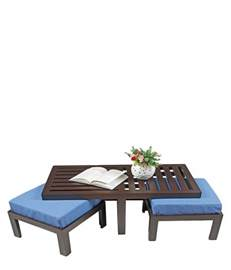 trendy coffee table with four stools green best price in