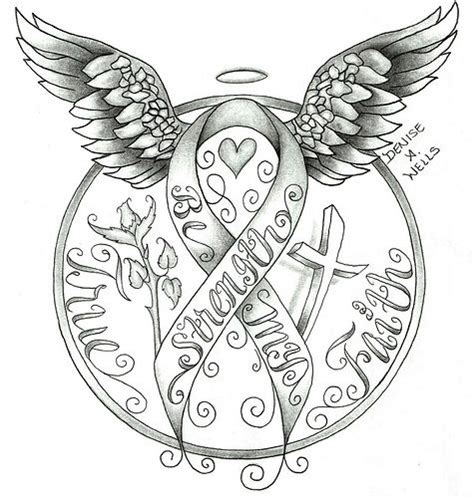 pink ribbon tattoo designs ideas strenth awareness ribbon design by a