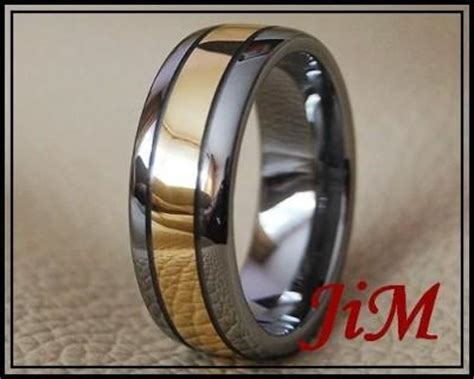 Cincin Titanium Ring 18k Gold tungsten ring 18k gold mens wedding band bridal titanium color jewelry size 6 15 ebay