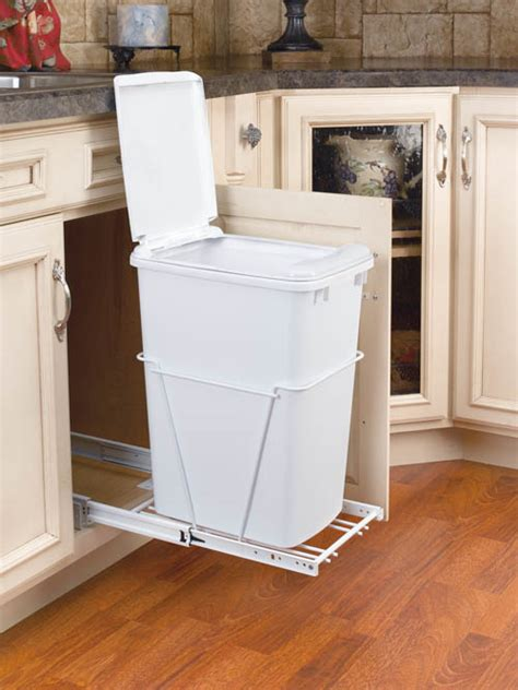 under kitchen sink trash can cabinet hardwares roll out tray glass shelf sincere