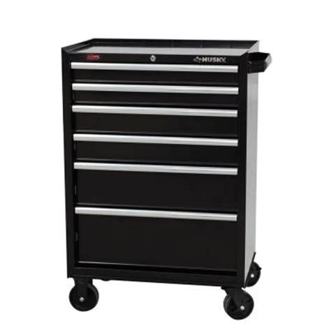 husky 27 in 6 drawer rolling tool cabinet black h6tr3