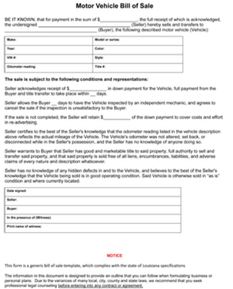 Louisiana Bill Of Sale Form 8ws Templates Forms Bill Of Sale Louisiana Template