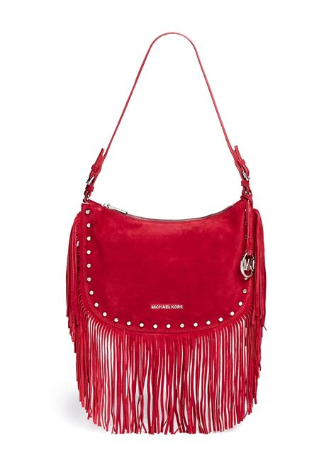 New Coach Swagger Medium Ss16 934 lyst michael kors billy medium suede fringe shoulder bag in