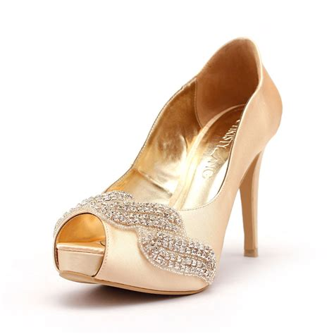 Fladeo Heels Gold No 39 gold peep toe platform studded wedding shoe