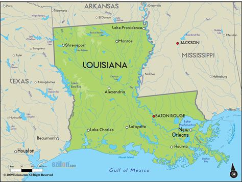 geographical map of louisiana and louisiana geographical maps