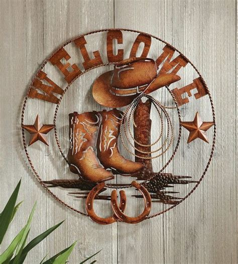 cowboy decorations for home western welcome metal wall art cowboy home decor
