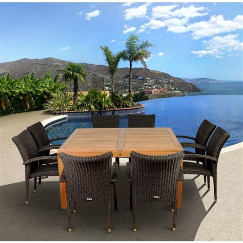 9 patio dining set amazonia versailles square 9 teak patio dining set