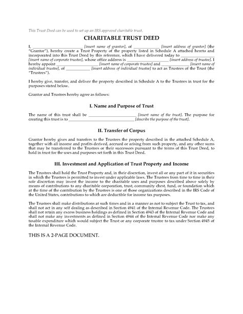 Charitable Trust Deed Template usa charitable trust deed forms and business