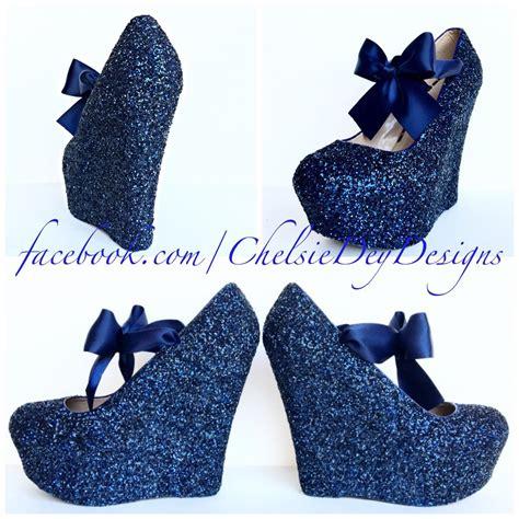 Navy Blue Satin Wedding Shoes by Navy Blue Wedge Glitter Heels Blue Platform Shoes