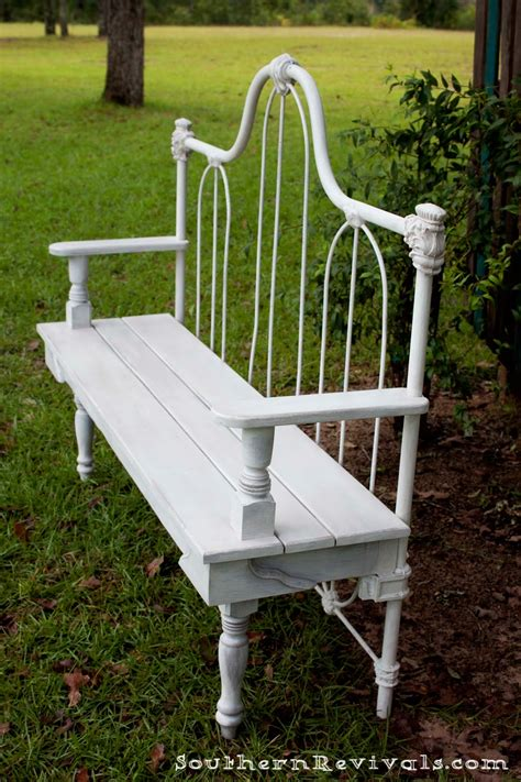 bench made from bed headboard diy repurposed metal headboard bench southern revivals