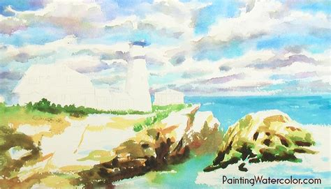 watercolor lighthouse tutorial portland head lighthouse