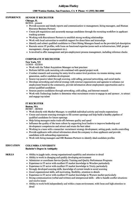 it recruiter resume sles velvet