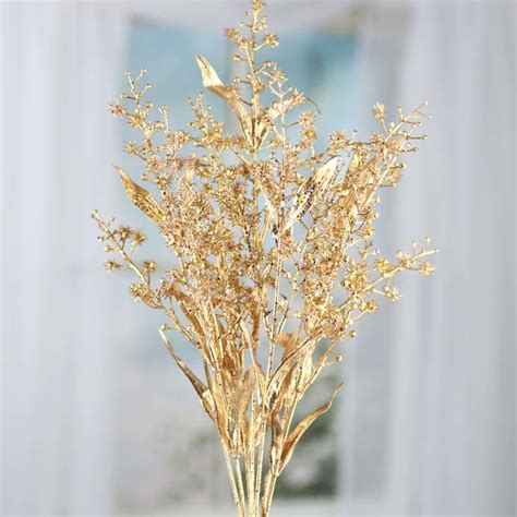 artificial stems and sprays gold sparkling artificial spike flower and leaf spray picks and stems floral supplies