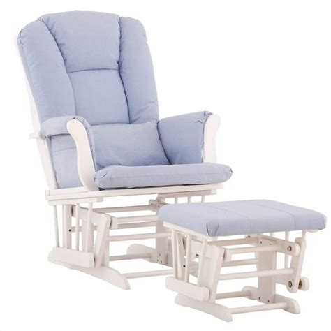 recliner gliders and ottomans for nursery glider and ottoman in white with blue cushions 06554 531