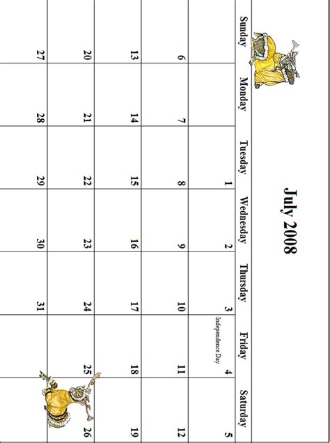 July 2008 Calendar 2008 July Calendar Grid