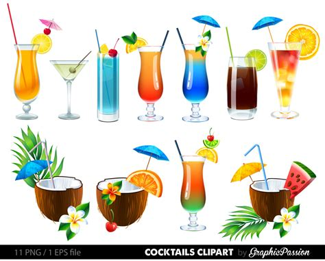 cocktails clipart summer cocktail drinks clipart