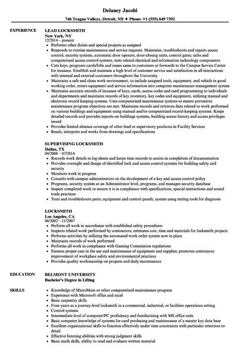 locksmith resume sles velvet