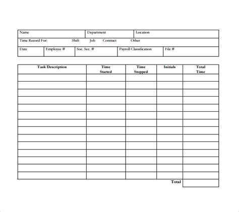 Timesheet Spreadsheet Template by Daily Timesheet Template 10 Free For Pdf Excel