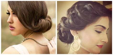 side buns for shoulder length fine hair various indian hairstyle of medium length for weddings