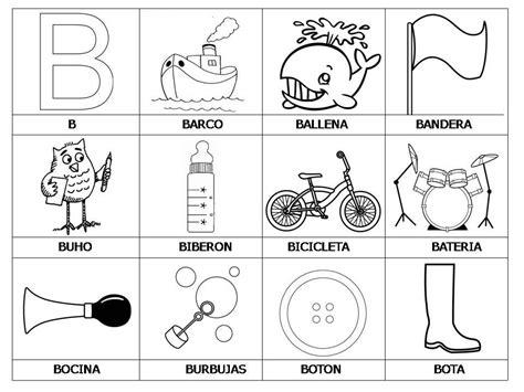imagenes que empiecen con la letra b para recortar laminas con dibujos para aprender palabras y colorear