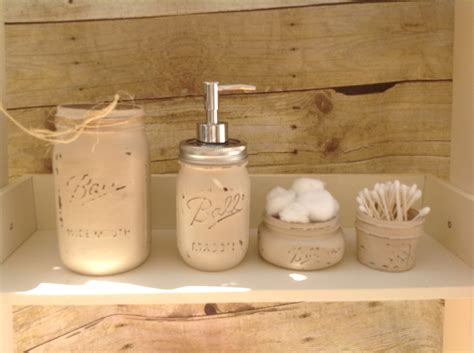 rustic bathroom set items similar to mason jar bathroom set painted mason