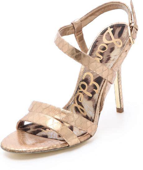 gold sam edelman sandals sam edelman abbott metallic sandals in beige gold lyst