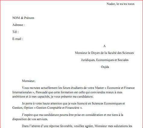 Demande De Une Lettre Maache Exemple D Une Lettre De Demande D Inscription En Master