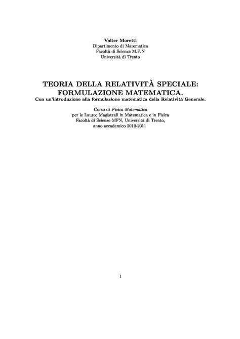 dispense matematica generale teoria della relativit 224 speciale dispense